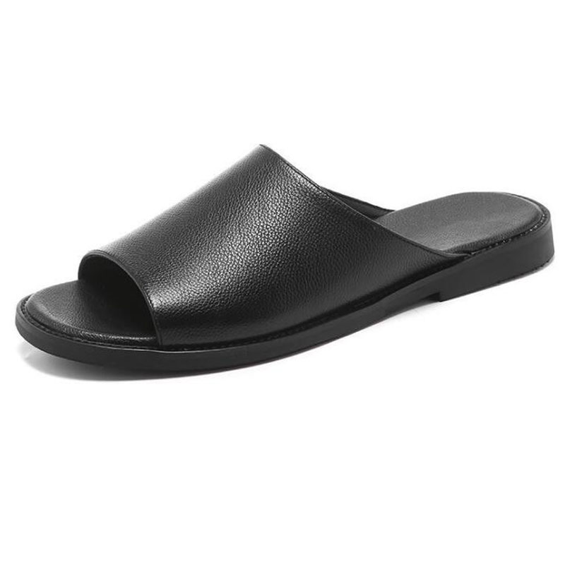 Hot Sale Men Leather Slippers Outside Black Male Shoes Soft Trendy Men Summer Shoes Cool Slippers Outdoor