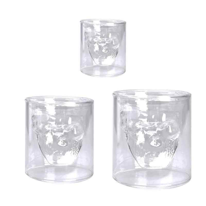 Halloween cráneo doble capa transparente copa de vidrio cerveza whisky copa de vino para Bar en Casa Fiesta Hotel boda vasos regalo bebedware