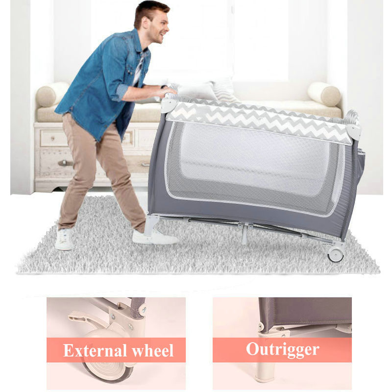 European Style Foldable Crib Newborn Comforting Shaker Multifunctional Portable Diaper Table 0-5 Years Old Baby Bed