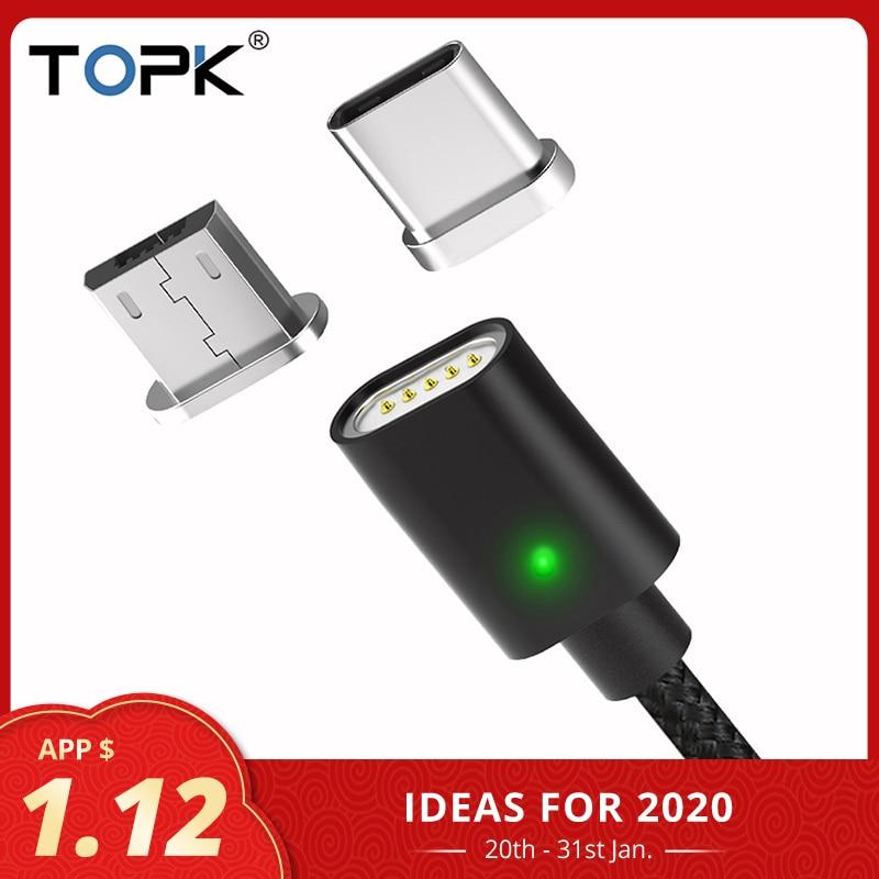 TOPK Cable magnético indicador LED USB tipo C y Micro USB Cable adaptador de Cable de sincronización de datos trenzados Cable de cargador con imán Adaptador de adaptador de 3/4 pulgadas, cable de grifo, adaptador de tanque IBC, conector de reemplazo, válvula de conexión para conectores de hogar para jardín Irr