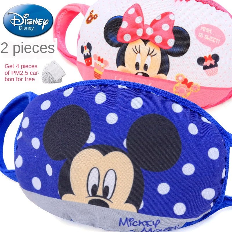 News Disney Mickey Minnie Cartoons Dustproof Cute Kids Mask Print Face Masks Reusable Children Mask Fabric Dust Masks For Gift