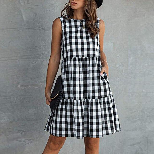 Women Summer Dresses Plaid Sleeveless Casual Sundress A Line Mini Dress Pocket O Neck Loose Beach Dresses Vestidos De Verano 1