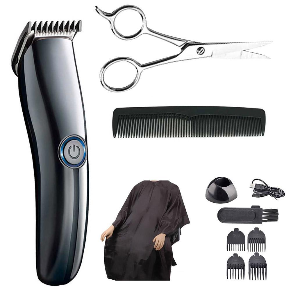 10pcs Set Electric USB Charge Low Noise Hair Clipper Comb Scissor Haircut Cape Trimmer Kit Carbon Steel Blade