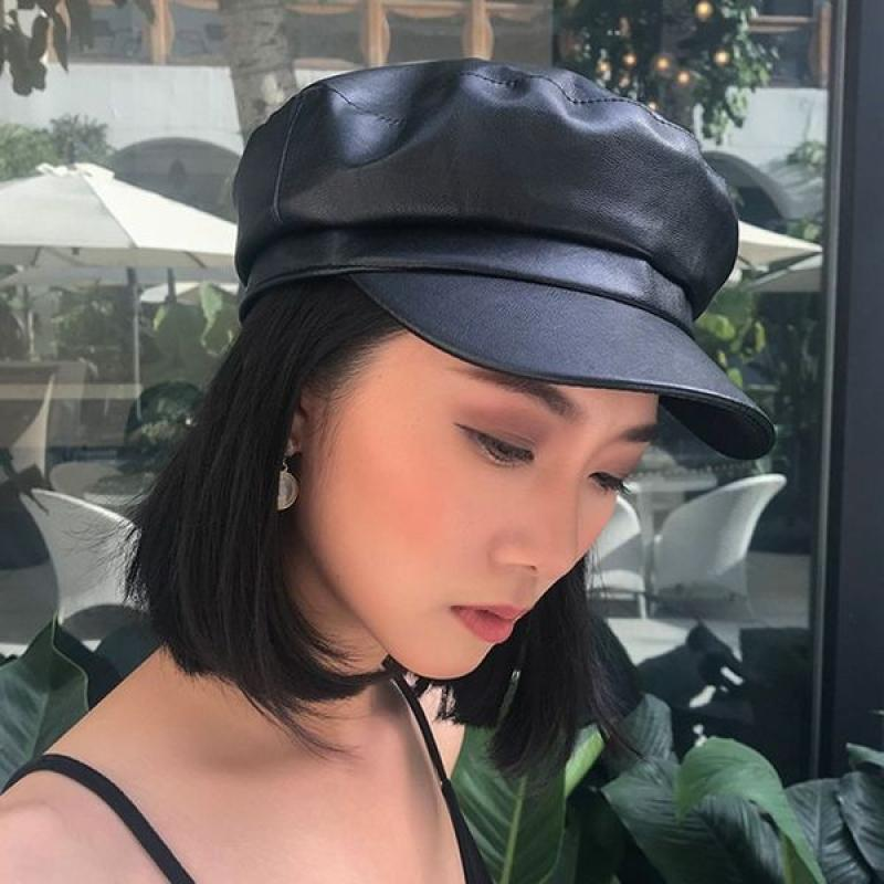 New Solid Color Leather Military Cap Fashion Caps Beret Ladies Classic Retro Newsboy Hat Outdoor Sun Hats