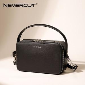 Image 1 - NEVEROUT ブランドの小さなハンドバッグ分割レザーショルダークロスボディバッグハンドルと女性ジッパーフラップバッグブラック/ グリーン/グレー