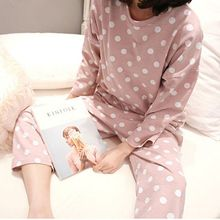 Women Pajamas Set Spring Autumn Long Sleeve Polka Dot Trouse