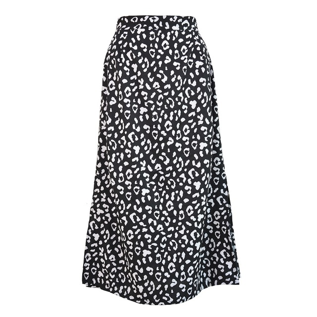 Summer women vintage elegant beach midi boho skirt 2021 Women Leopard print split sexy zip skirts womens Casual skirts female 5