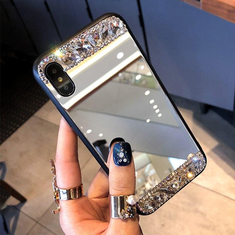 Diamond Glitter Mirror Case For Samsung S6 S7 S8 S9 S10 Plus S20 Note 5 8 9 10 Pro A7 A8 A9 2018 A50 A70 A51 A71 Bling Cover