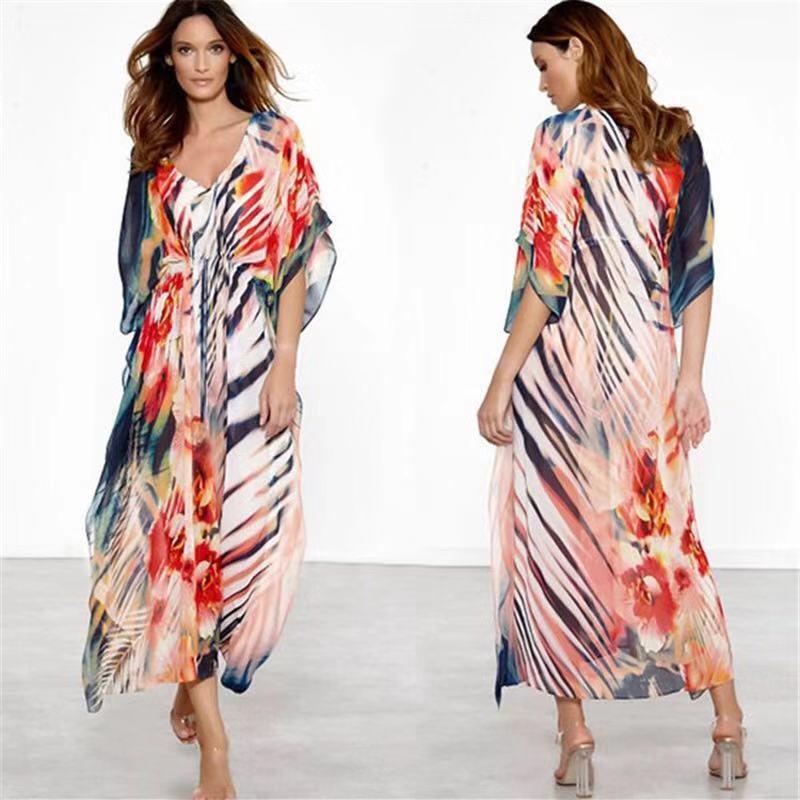Floral Print Bikini Cover Up Women Chiffon Shirts 2019 Summer Beach Tunic Dress Big Size Pareo Long Kaftan Beach Wear Sexy Robe