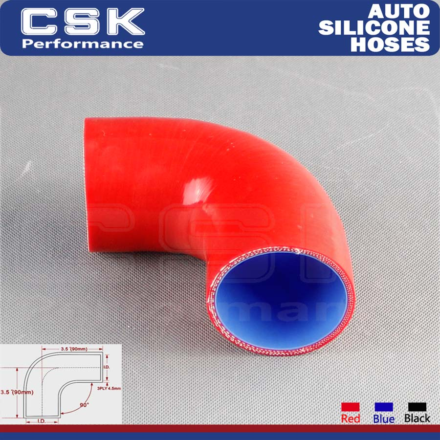 """Red 2"""" Silicone hose 90 degree connector elbow Turbo"""