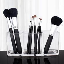 Transparent Acrylic Makeup Brush Holder Organizer 3 Grid Eyebrow Pen Storage Rac