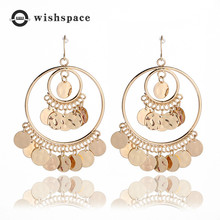 Exaggerated sequins alloy YuanQuan Bohemian friends birthday present fashionable woman earrings jewelry