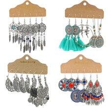 Ensemble de boucles d'oreilles rondes et multicolores pour femme, bijoux Vintage, grandes, longues, rondes, avec plumes et pampilles, style Boho, attrape-rêves