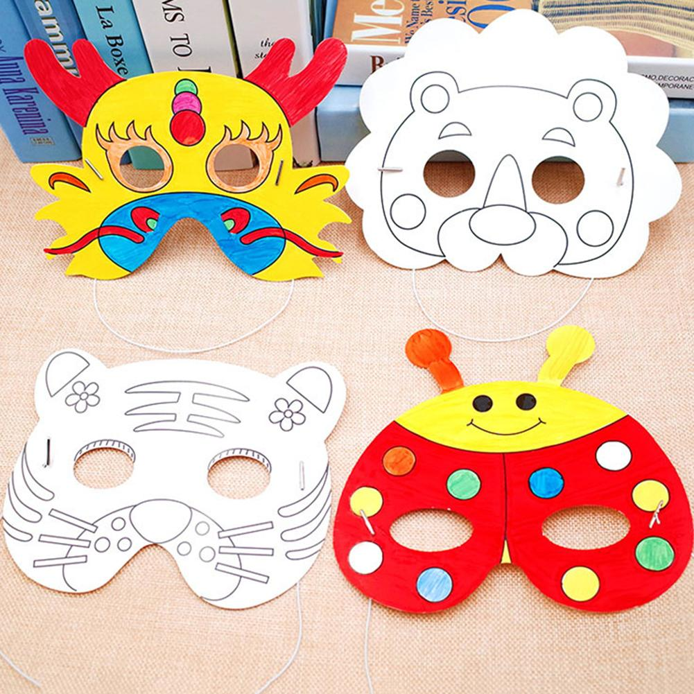 Durable Non-toxic Material Cartoon Animal Paper Painting Mask Graffiti DIY Art Craft Kindergarten Kids Stimulate Imagination Toy