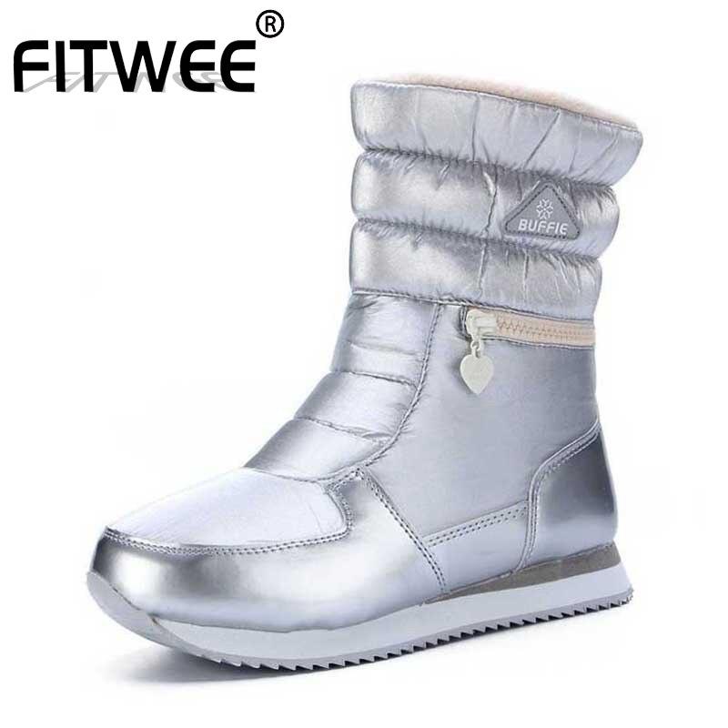 FITWEE 9 couleurs garder au chaud dames bottes de neige bout rond confortable fourrure mi-mollet bottes fond épais Zipper chaussures taille 35-41