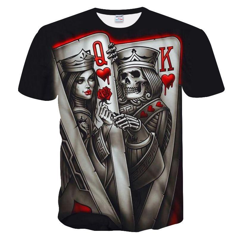 Yeni rahat kafatası poker baskılı 3D T-shirt erkek kısa kollu Tişört 3DT gömlek siyah tasarım T-shirt tarzı erkekler ve kadınlar