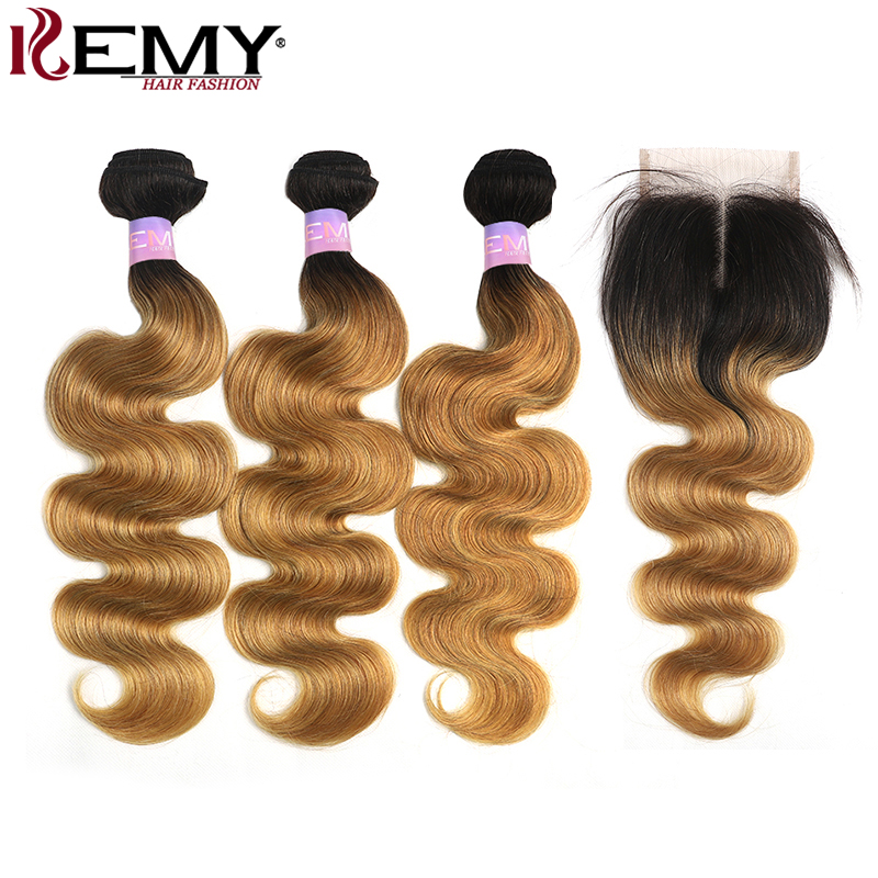 Ombre Human Hair Bundles With Closure 4x4 KEMY HAIR T1B/27 Two Tone Brazilian Body Wave Hair Extensions Non-Remy Hair Weave 3PCS