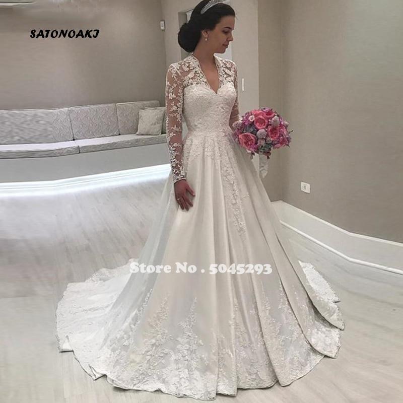 SATONOAKI 2020 Vintage Satin Wedding Dresses V Neck Long Sleeve Lace Appliques Bridal Gowns Muslim Bride Dresses Robe De Mariage