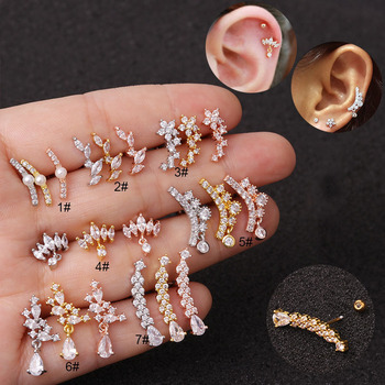 1Pc Gold Silver Zircon Crystal Stainless Steel Barbell Ear Piercing Body Jewelry Cartilage Helix Tragus Rook.jpg 350x350 - 1Pc Gold Silver Zircon Crystal Stainless Steel Barbell Ear Piercing Body Jewelry Cartilage Helix Tragus Rook Lobe Stud Earring