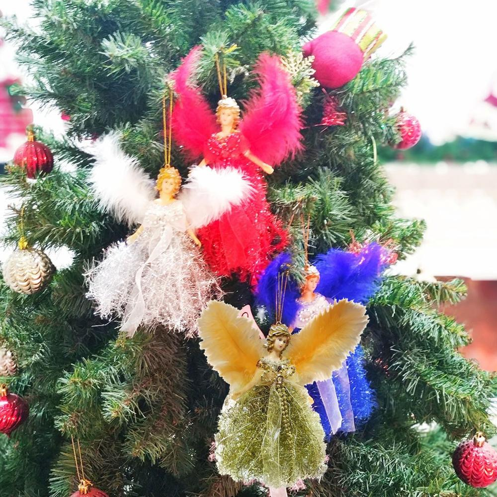 Christmas Angel Feather Doll Hanging Xmas Tree Pendants Home Decor Ornaments