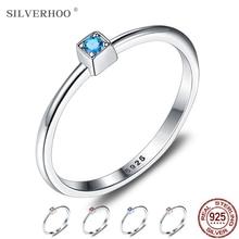 SILVERHOO Genuine 925 Sterling Silver Rings For Women Wedding Ring Minimalist Thin Circle Zircon Ring Goth Fine Jewelry 2020 New