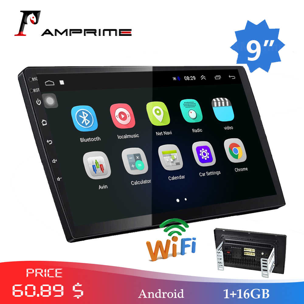 "Amprime 9 ""Android Mobil Radio 2 DIN Multimedia Player Gps Navigasi Auto Stereo WIFI Bluetooth Pemutar Video dengan Kaca kamera"