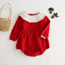 Infant Crochet Red Color Rompers Kids Rompers Lovely Girls Child ins Sweet Newborn Autumn Winter Rompers