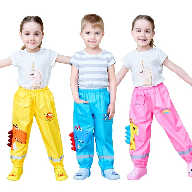 Cartoon Dinosaur Style Kids Rain Pants Boys And Girls Students Kids Waterproof Pants Fashion Children Rain Pants