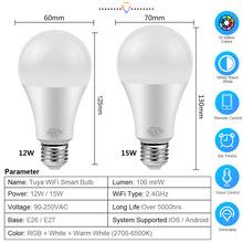 Tuya Smart Light Lamp Wifi Bulb 12W 15W Color Changing RGB LED Bulb e27 110V 220V APP Remote Compatible Alexa Google Home cheap FastDeng CN(Origin) ROHS 2700K~6500K Tuya WiFi Smart LED Bulb 2835 living room 90-250V AC 1000 - 1999 Lumens Globe 100000