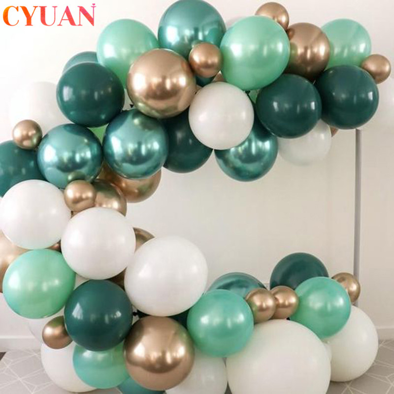 Retro feijão verde azeitona balões corrente garland arco metálico hélio ballon casamento crianças chuveiro do bebê festa de aniversário decorações globos