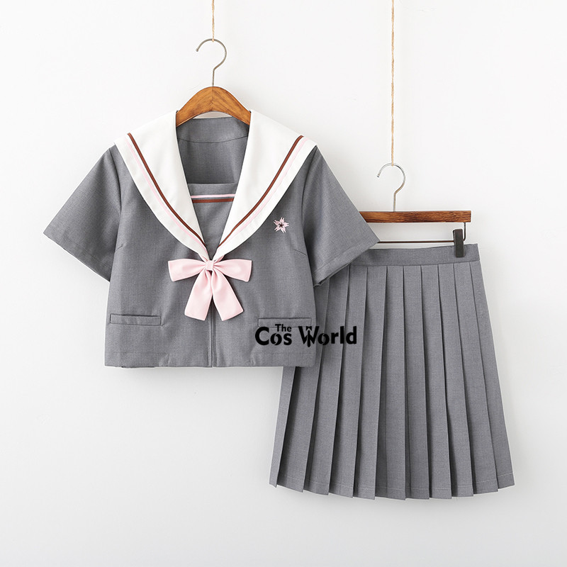 [Mount Sakura] Gray Summer Navy Sailor Suit Tops Skirts JK High School Uniform Class Uniform Students Cloth