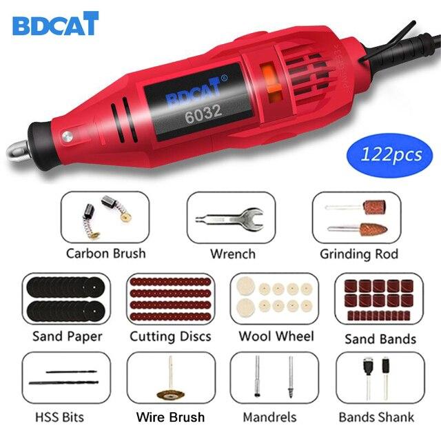 BDCAT 180W Mini değirmeni el matkabı elektrikli güç araçları Mini matkap parlatma makinesi döner aracı ile Dremel aksesuarları kiti seti
