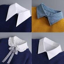 Chemise à Faux Col blanc pour femmes, châle détachable, Faux Col en dentelle, chemisier à revers, accessoires de vêtements pour femmes
