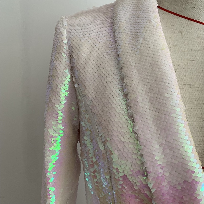 Newest Fashion Runway 2020 Designer Blazer Women's Double Breasted Shawl Collar Shimmer Sequined Long Blazer Jacket