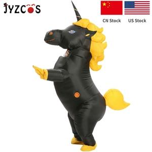 Image 5 - Jyzcos inflável unicórnio traje festa de halloween traje para as mulheres purim natal cosplay mascote traje para adulto criança
