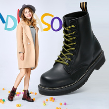 Pu Leather Women Winter Boots For Martin Lace-up Womens Boot Female Shoes Round Toe Ankle Botas Mujer