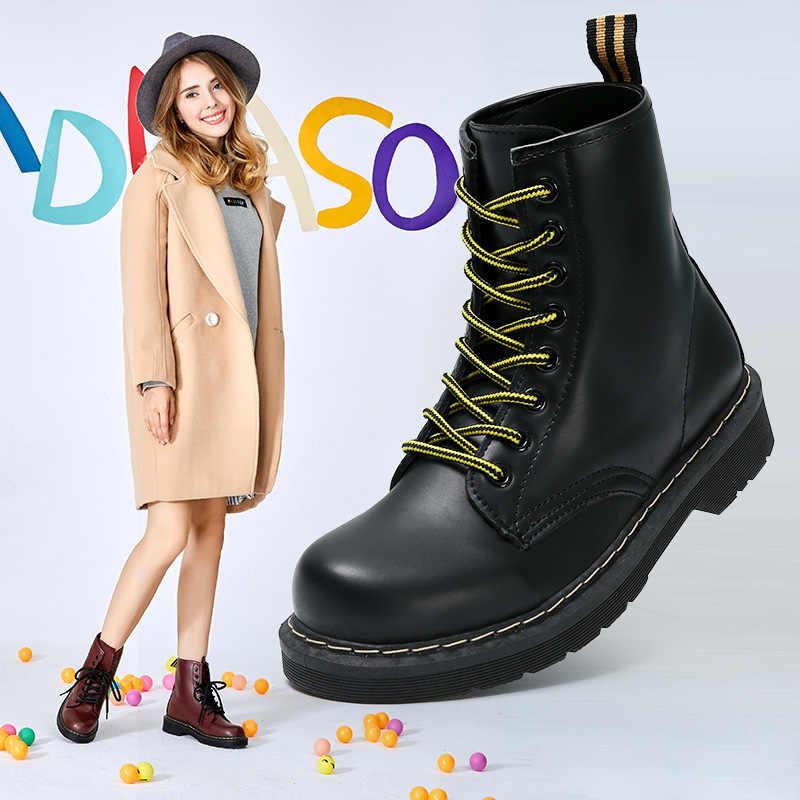 Pu deri kadın kışlık bot Martin çizmeler dantel-up kadın çizme kadın kış ayakkabı yuvarlak ayak kadın yarım çizmeler Botas Mujer