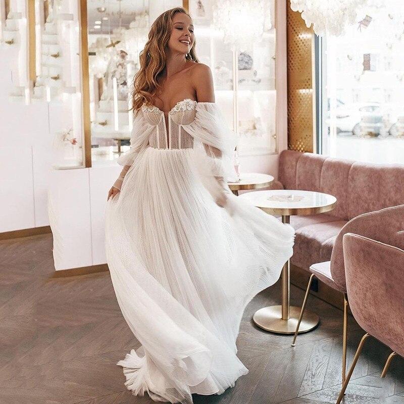 Sexy Offene Schulter Lange Puff Sleeve Hochzeit Kleid Vintage Braut Kleider 2021 Perlen EINE Linie Günstige Strand Brautkleider Vestidos