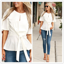 Ruffles Chiffon Blouse Butterfly Sleeve Spring Summer Fashion Woman Shirts Casual Blusen Women 2019 White