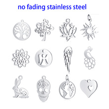 10pcs DIY Tree Life Pendant Charms Fashion Polished Real Stainless Steel Tree Pendant for Jewelry Making Findings Accessories 10pcs star pendant charms fashion polished real stainless steel star pendant for diy jewelry making findings accessories