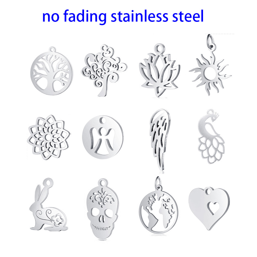 10pcs DIY Tree Life Pendant Charms Fashion Polished Real Stainless Steel Tree Pendant for Jewelry Making Findings Accessories