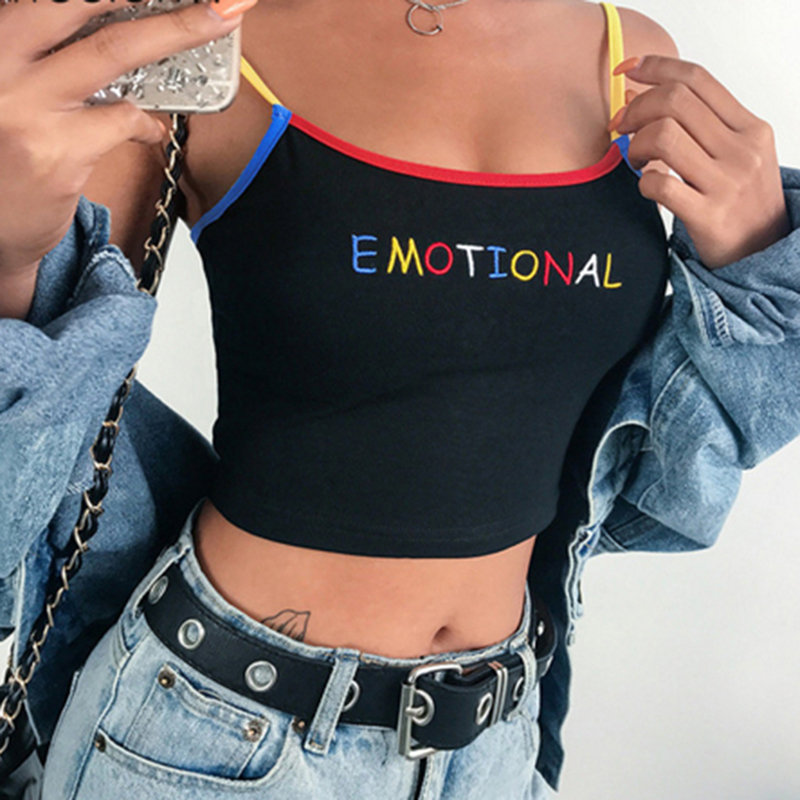 2019 Summer Women Crop Top Cropped Ladies Spaghetti Strap Elastic Camisole Sexy EMOTIONAL Letter Embroidery Tank Tops(China)