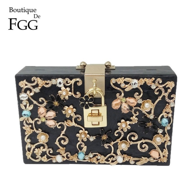 Boutique De FGG Women Black Acrylic Box Clutch Handbags Flower Crystal Evening Purses Party Chain Shoulder Crossboday Bag