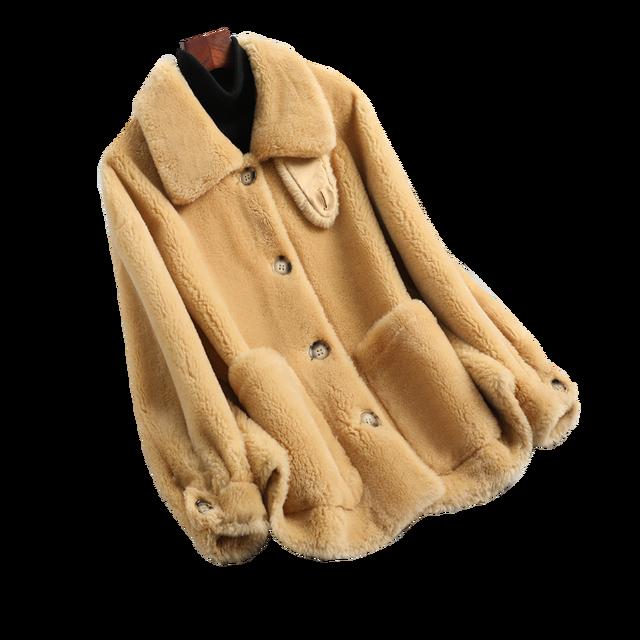 Manteau en peau de mouton véritable fourrure femmes hiver manteaux en laine véritable femme col rabattu hiver chaud mouton veste de cisaillement manteau extérieur