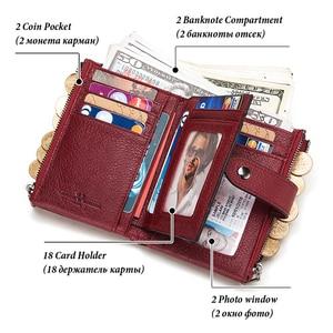 Image 5 - KAVIS prawdziwej skóry darmowe grawerowanie portfel kobiety Crazy Horse portfele monety kiesy krótki portmonetka damska Rfid Walet Lady Perse