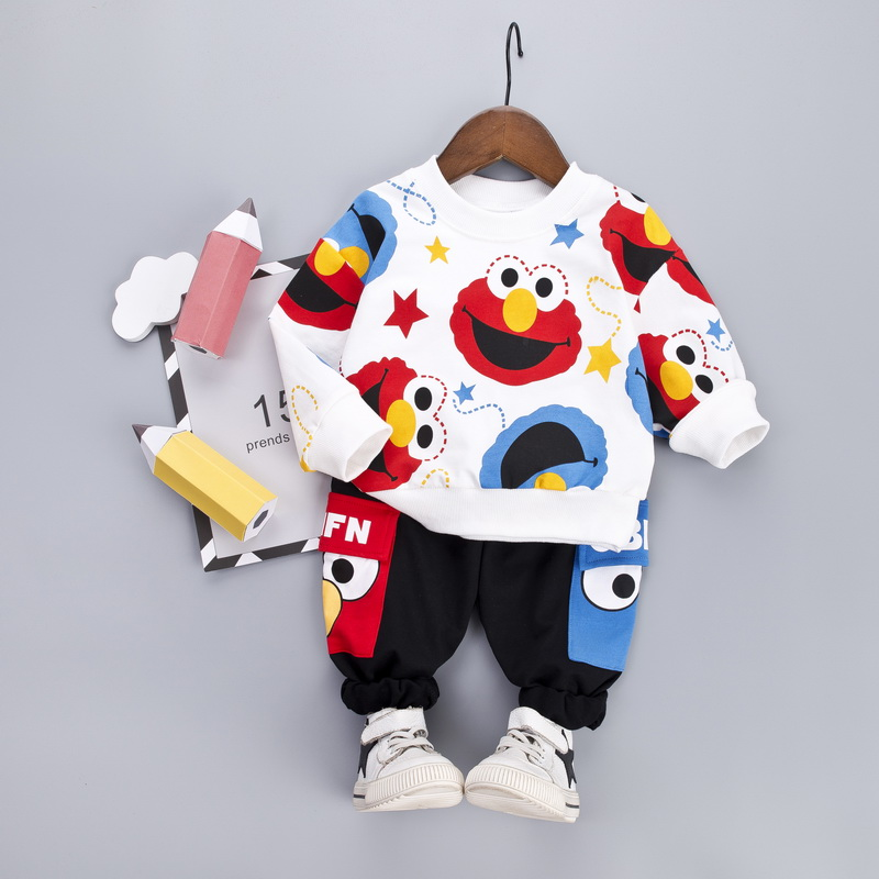 Cartoon Toddler Infant Baby Boy Clothes Set T shirt + Pants Cotton Long Sleeves Outfits Set Yellow White Toddler Boys ClothingClothing Sets   -