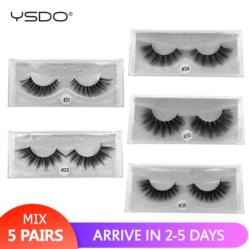 YSDO 5 Pairs 3d Mink Lashes Mix False Eyelashes Natural Long Mink Eyelashes For Makeup Dramatic Eyelash Extension Volume Lashes