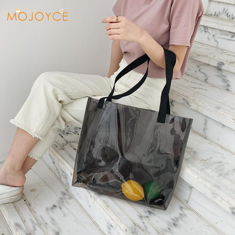 Clear Transparent PVC Shoulder Bags Women Jelly Bags Purse Large Casual Tote Shoulder Bag Large Capacity Shopping Totes