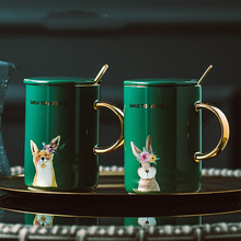 Animal-Mugs Ceramic-Cup Coffee Nordic Cartoon Mug Gold-Handle Retro Creative Personality