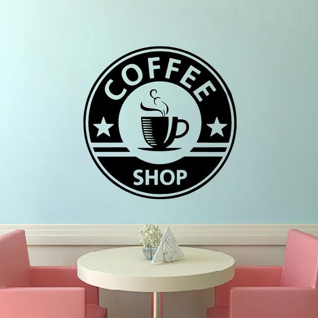 Creative Coffee Vinyl Wall Or Window Door Sticker Waterproof Glass Door Mural Poster For Coffee Shop Kitchen Shop Decoration